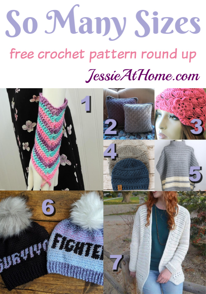Many Size Crochet free crochet pattern round up from Jessie At Home