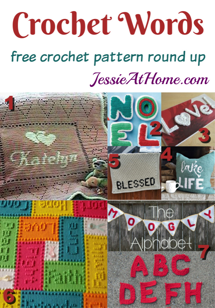 Crochet Words free crochet pattern round up from Jessie At Home