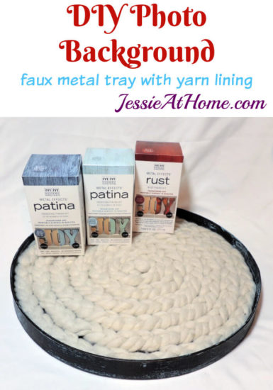 DIY Photo Background Faux Metal Tray with Yarn Lining tutorial by Jessie At Home