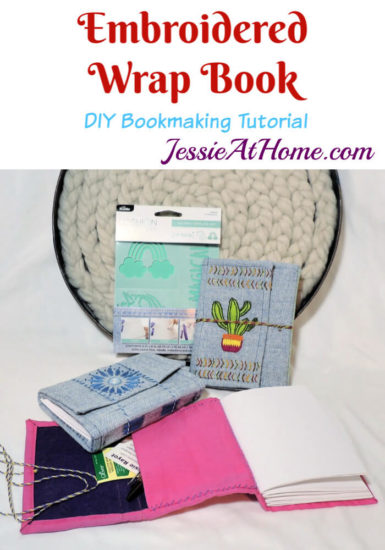Embroidered Wrap Book DIY Bookmaking Tutorial by Jessie At Home