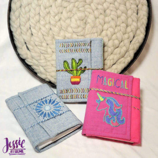 Embroidered Wrap Book DIY Bookmaking Tutorial by Jessie At Home - all done