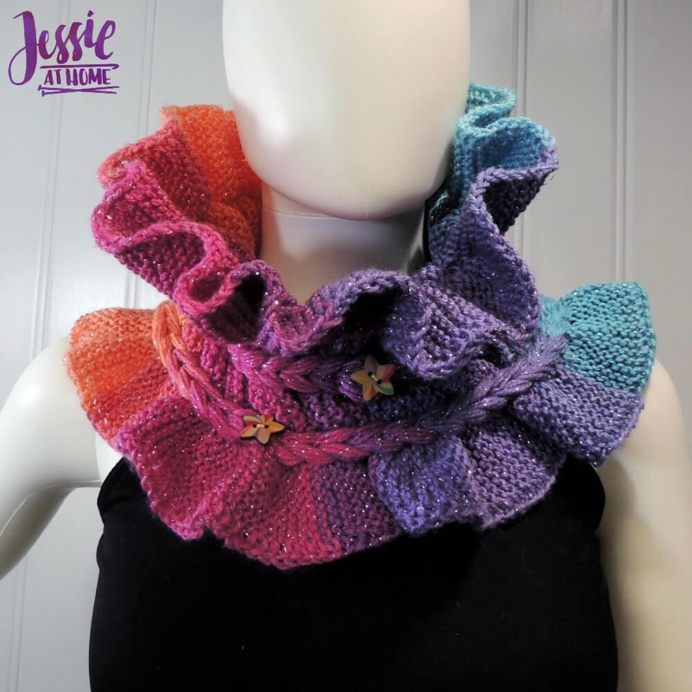 Rainbow Ruffle Cowl - modern knit ruff pattern by Jessie At Home - 7
