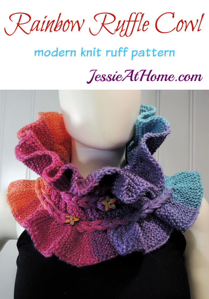 Rainbow Ruffle Cowl - modern knit ruff pattern by Jessie At Home