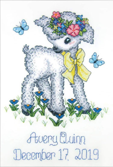 DIY Lamb Baby Decor - review from Jessie At Home - Cross Stitch