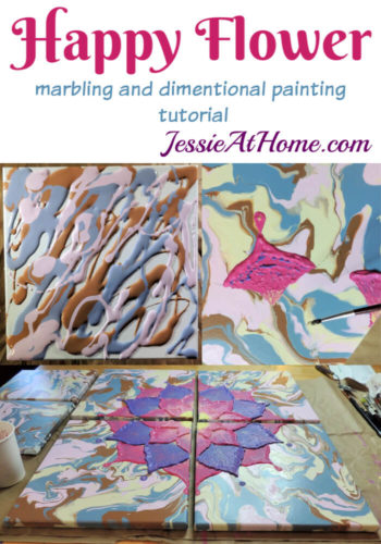 Happy Flower - Dimensional Paint and Paint Marbling Tutorial by Jessie At Home