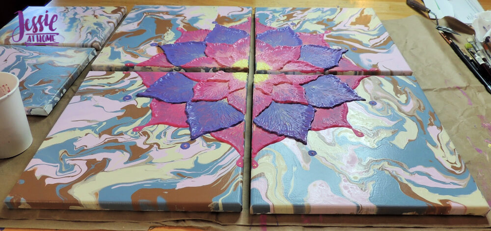 Happy Flower - Dimensional Paint and Paint Marbling Tutorial by Jessie At Home - Dimention!