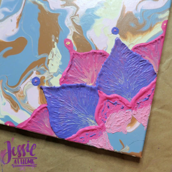 Happy Flower - Dimensional Paint and Paint Marbling Tutorial by Jessie At Home - Second to last round