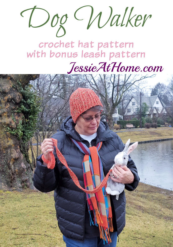 Dog Walker Hat with bonus leash crochet pattern by Jessie At Home