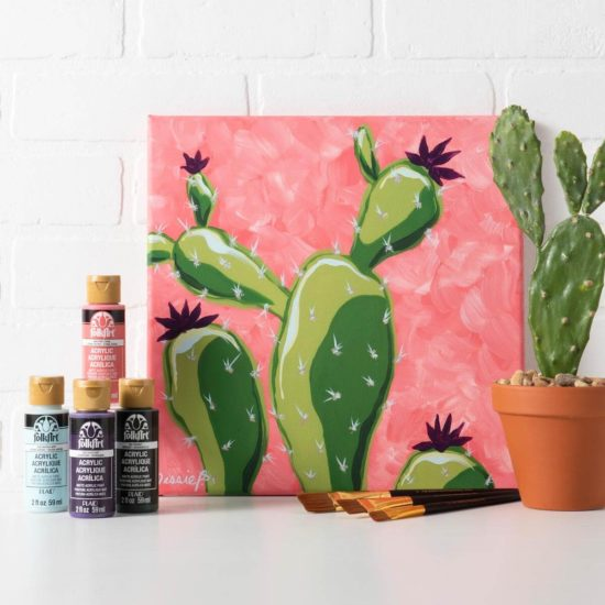 Let's Paint Live with Plaid - learn or improve your painting skills - Jessie At Home - Cactus