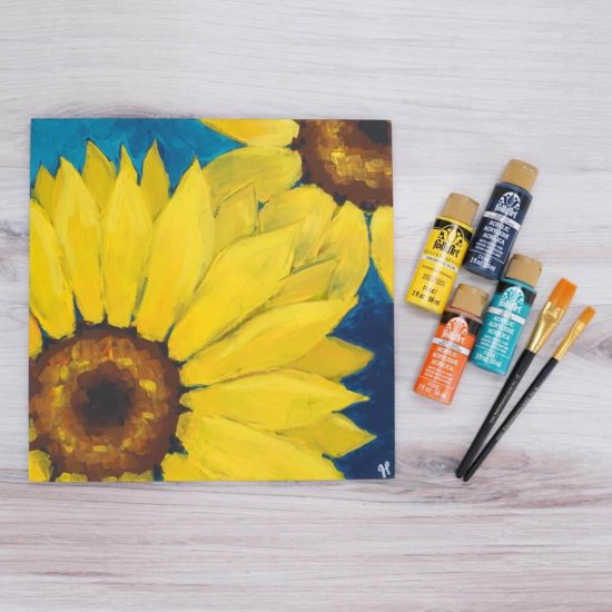 Let's Paint Live with Plaid - learn or improve your painting skills - Jessie At Home - Sunflower