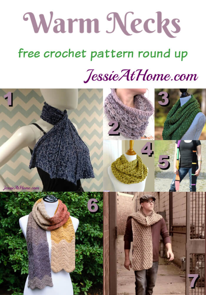 Warm Necks - free crochet pattern round up from Jessie At Home
