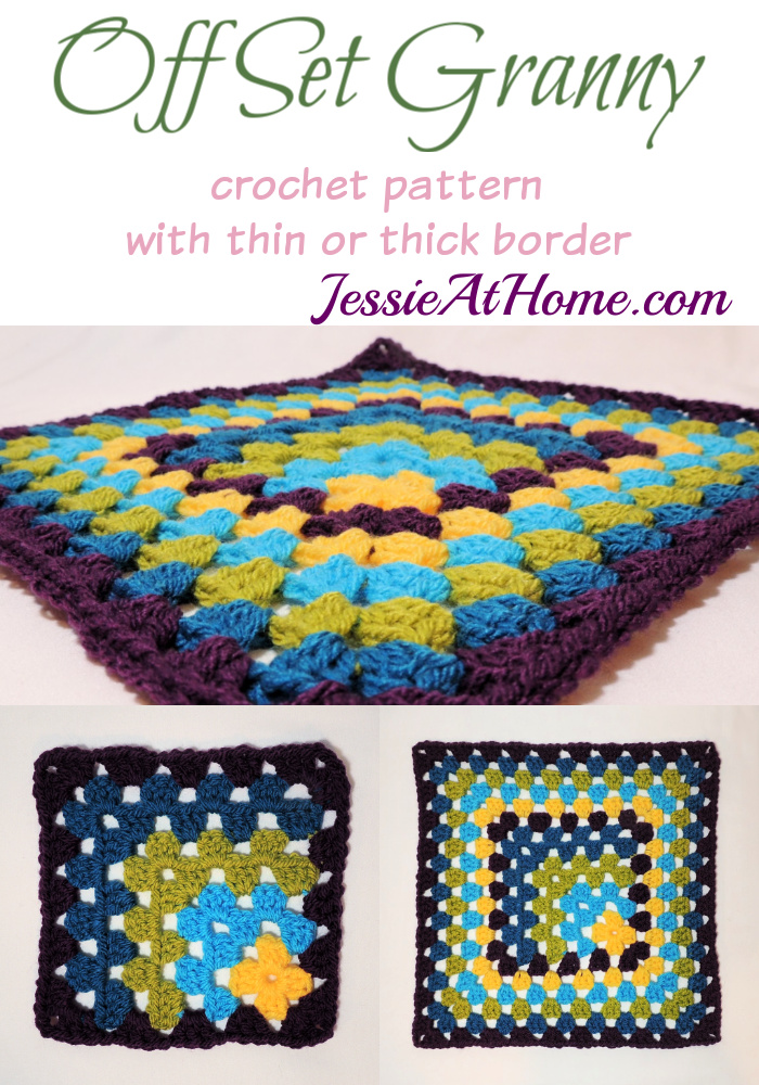 Off Set Granny Square with thin or thick border - free crochet pattern