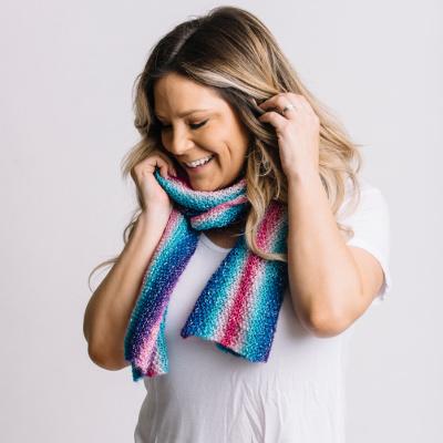 Striped Cake Scarf free knit pattern by Jessie At Home - I Like Knitting Makenna-Striped-Scarf