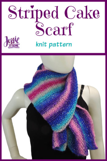 Striped Cake Scarf knit pattern by Jessie At Home - Pin 1