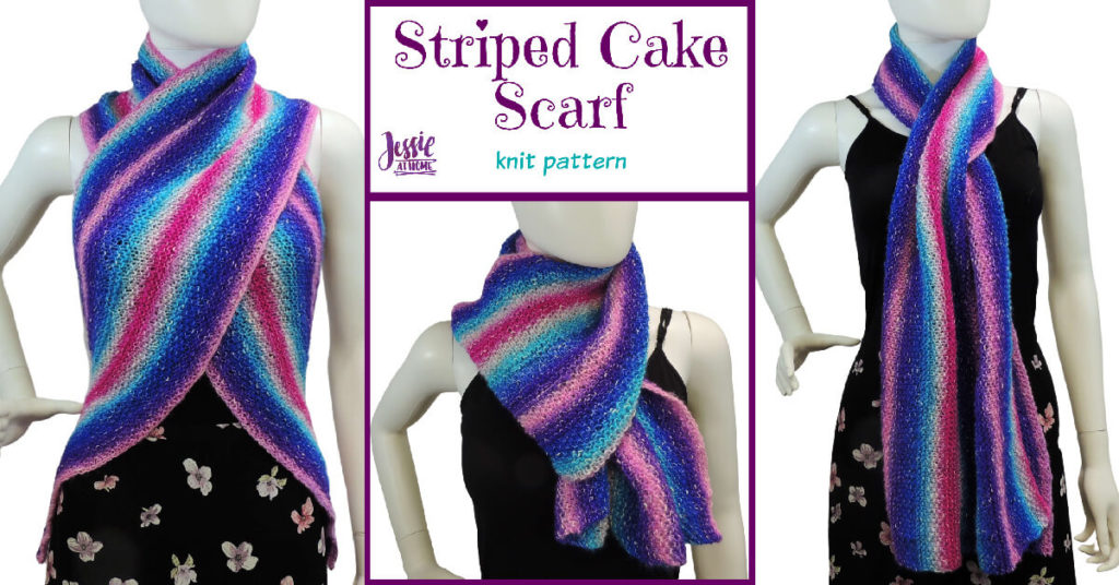 Striped Cake Scarf knit pattern by Jessie At Home - Social