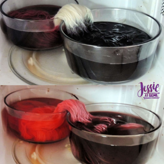Dyeing Yarn with Jessie At Home - Protein Yarn and Acid Dye - Gloss DK - Food Coloring Black to Purple and Red to Purple - Dyeing