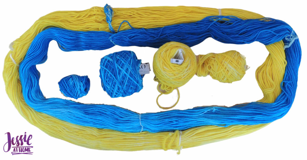 Dyeing Yarn with Jessie At Home - Protein Yarn and Acid Dye - Whims - Sun Yellow Hombre and Turquoise Hombre - Hanked