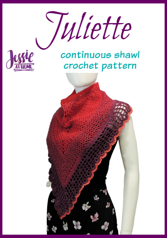 Juliette Shawl continuous shawl crochet pattern by Jessie At Home - Pin 1