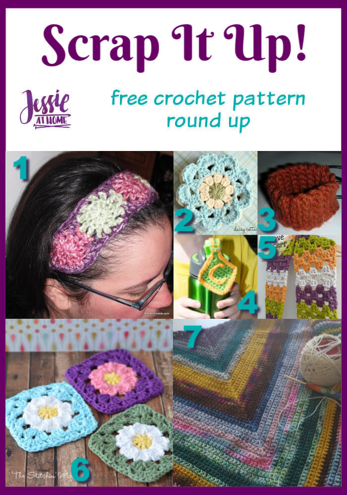 Scrap It Up free crochet pattern round up from Jessie At Home - Pin 1