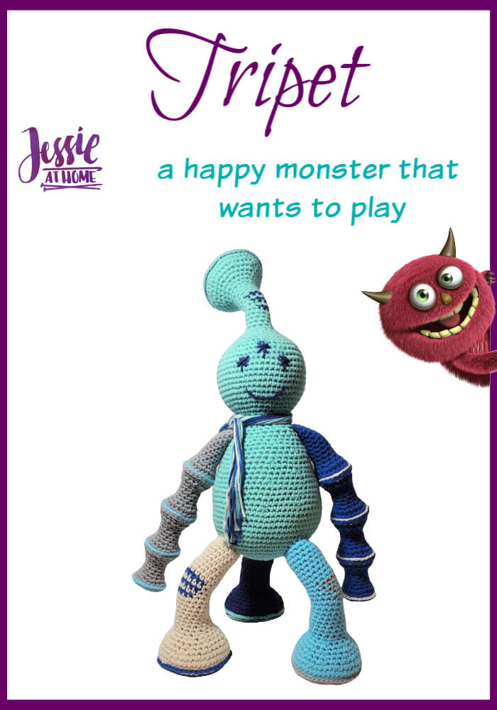 Tripet amigurumi monster crochet pattern by Jessie At Home - Pin 1