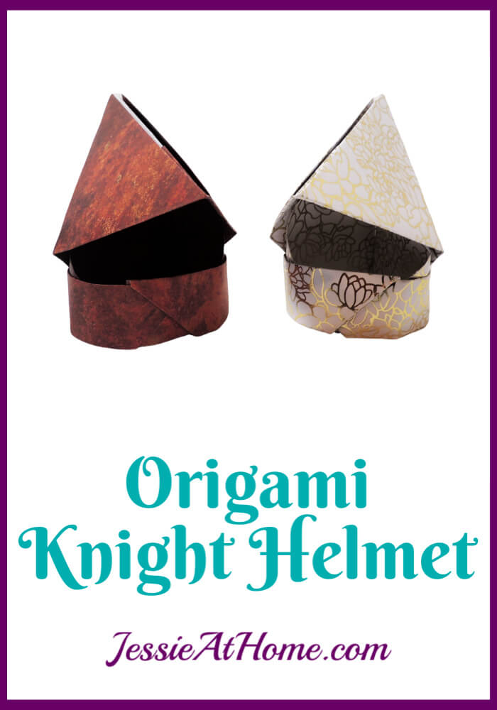 Origami Knight Helmet Pattern - written and pictorial tutorial