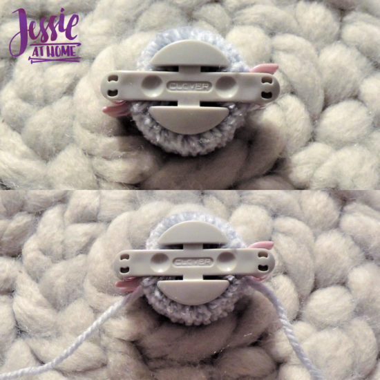 Clover Pom Pom Maker Tutorial by Jessie At Home - Place yarn in groove