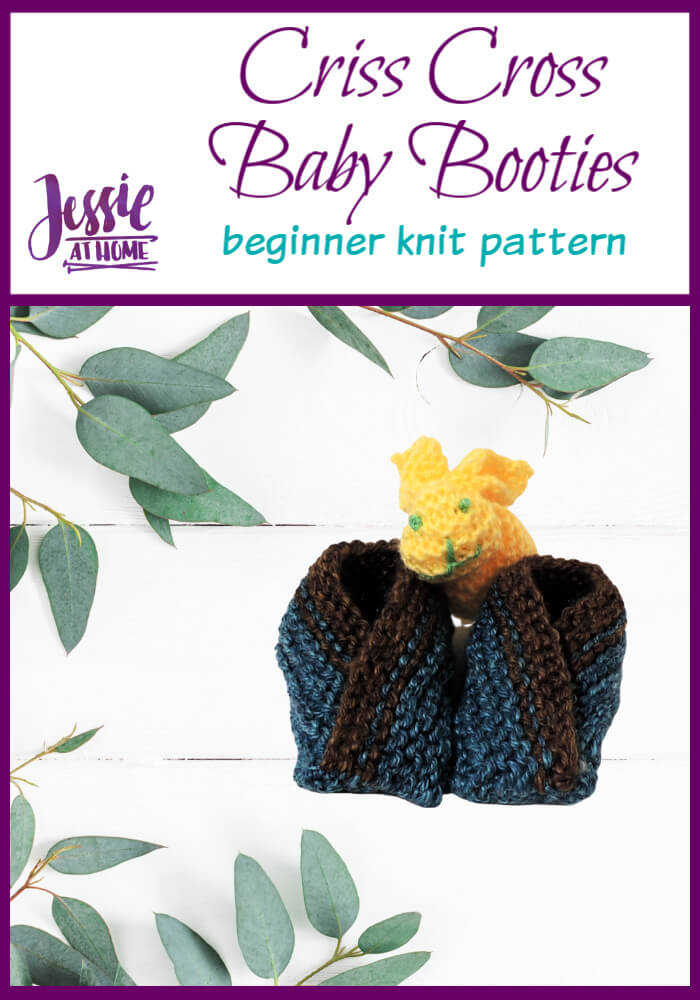 Criss Cross Baby Booties beginner knit pattern by Jessie At Home - Pin 1