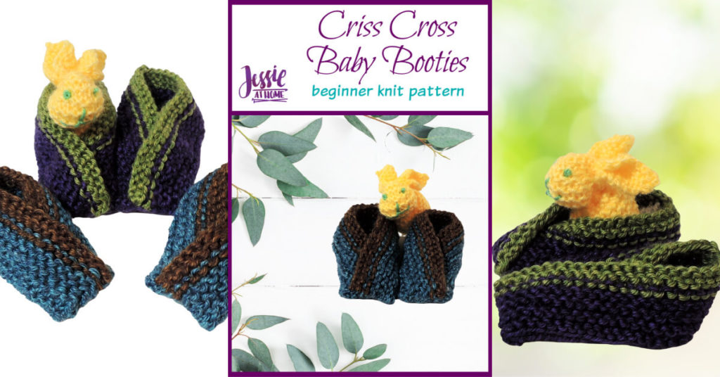 Criss Cross Baby Booties beginner knit pattern by Jessie At Home - Social