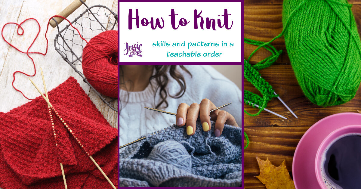 How to Knit - written, photo & video tutorials by Jessie At Home - Social