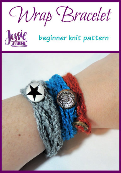 Simple Knit Wrap Bracelet beginner knit pattern by Jessie At Home - Pin 1