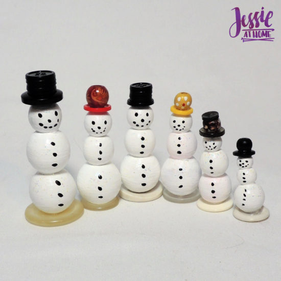Snow Folx - Upcycled Snowmen for Christmas in July by Jessie At Home - Snow Folx in a row
