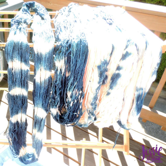 Yarn Dyeing with Indigo -Learn with Jessie At Home - Cotton Boucle Stripes Drying