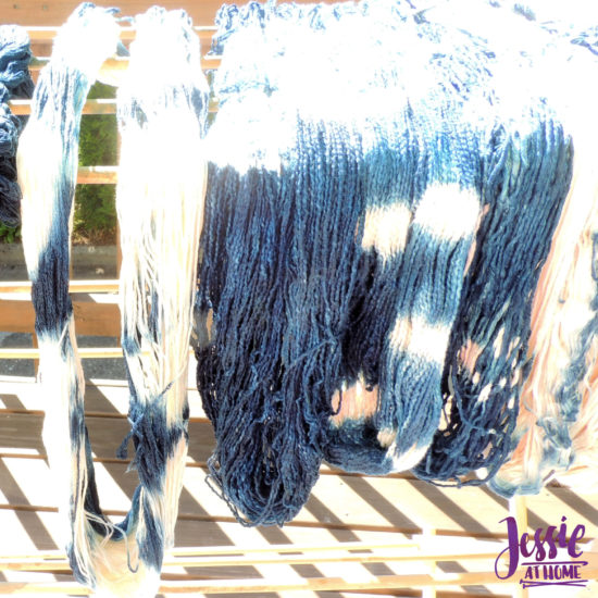 Yarn Dyeing with Indigo -Learn with Jessie At Home - Lindy Chain Drying