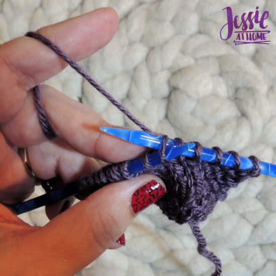 How to KFB Knit Front and Back by Jessie At Home - Insert needle through back of stitch