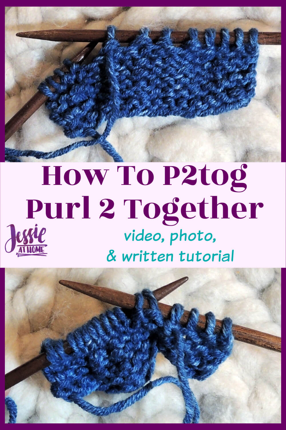 How to P2tog - Purl Two Together Tutorial
