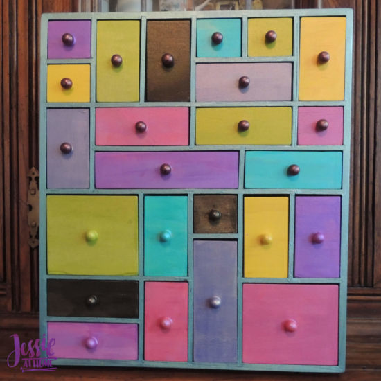 Mini Apothecary Chest - craft tutorial by Jessie At Home - Half Knobs Painted