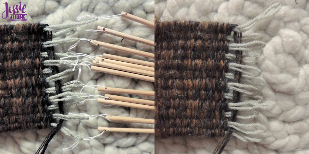 Stick Weaving Tutorial by Jessie at Home - Pull up and cut off sticks