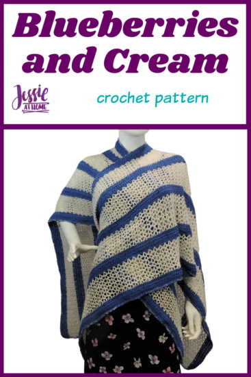 Blueberries and Cream Ruana crochet pattern by Jessie At Home - Pin 1