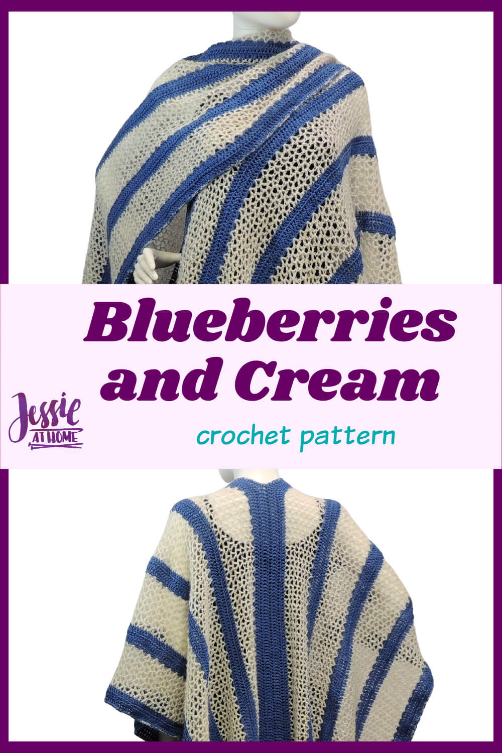 Blueberries and Cream - free crochet pattern for a fabulous ruana wrap