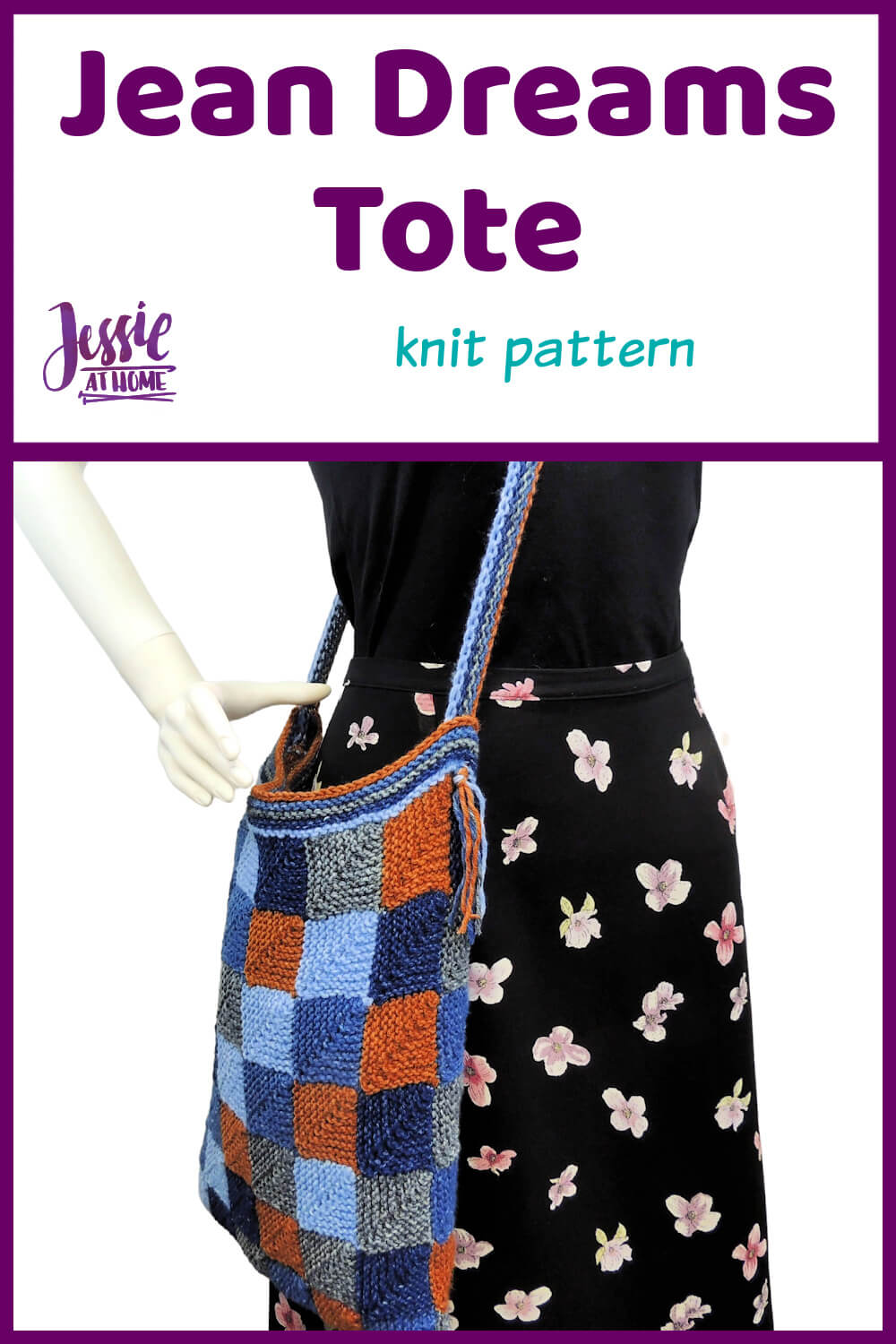 Denim Knit Pattern - Jean Dreams Tote - carry what you need in style!