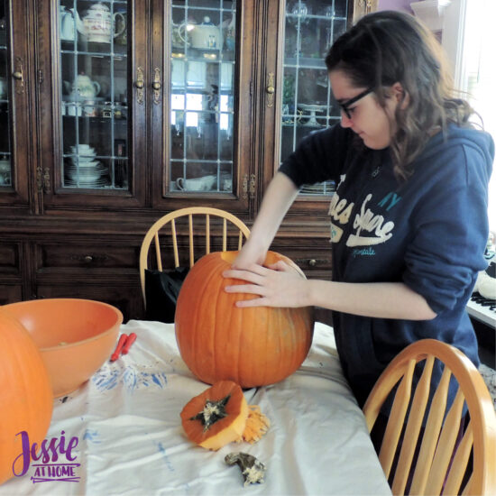 National Pumpkin Day and Fun with Felt by Jessie At Home - Vada Gutting the Pumpkin