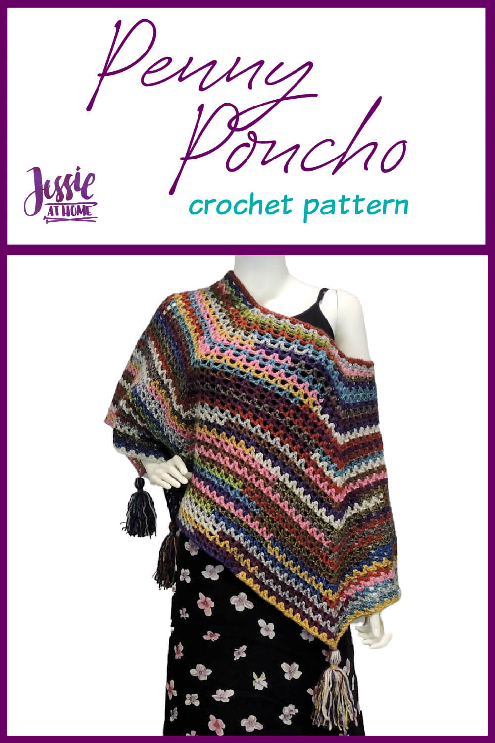Penny Poncho crochet pattern by Jessie At Home - Pin 1