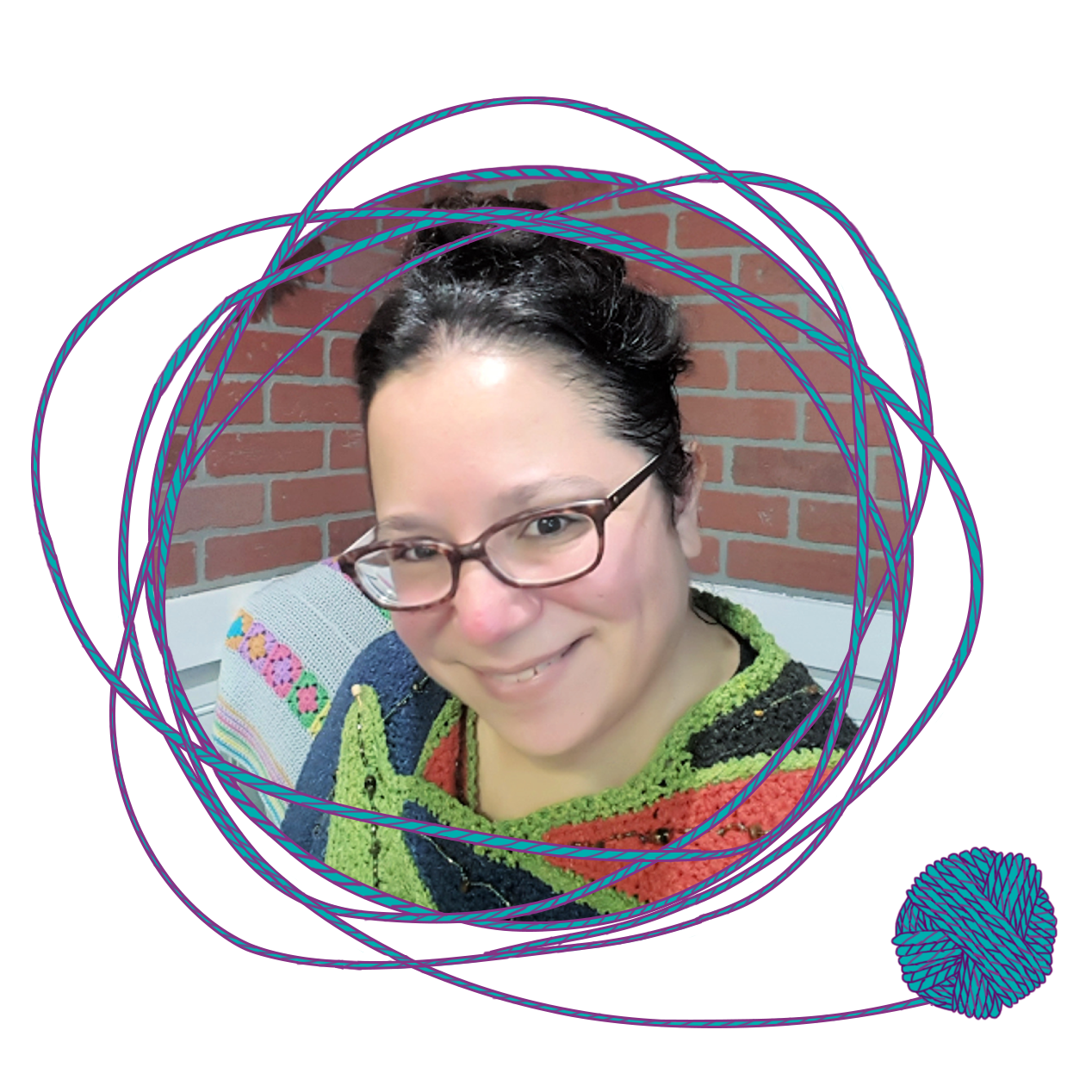 Round image of Jessie Rayot with a border of yarn