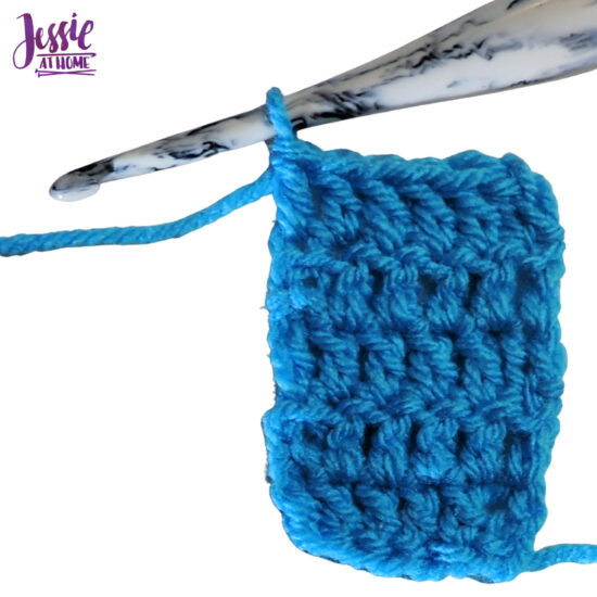 DCH2 - Double Chain Two video, photo, and written Stitchopedia tutorial by Jessie At Home - Dch2 row finished