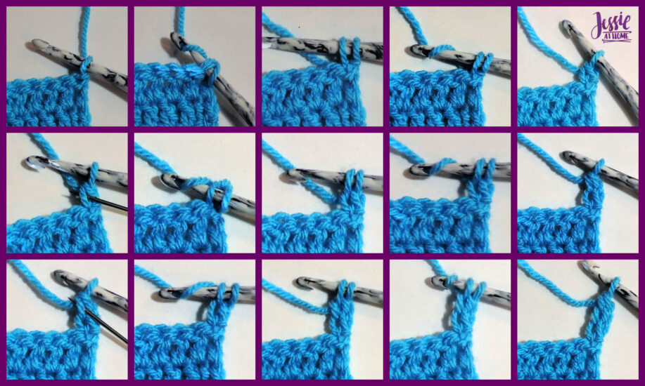 DCH3 - Double Chain Three video, photo, and written Stitchopedia tutorial by Jessie At Home - Step by Step Images