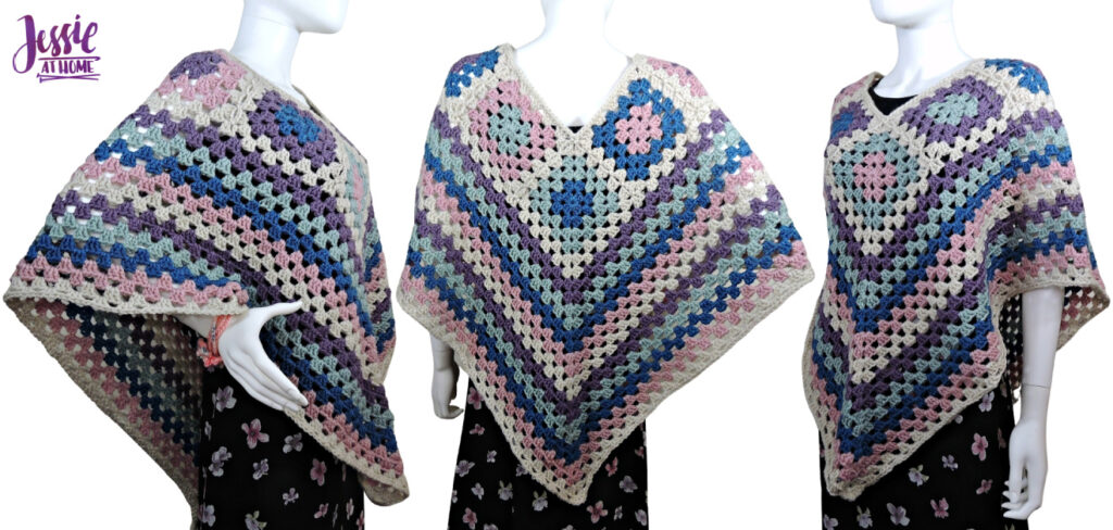 Granny Border Poncho - crochet pattern by Jessie At Home - Top Image