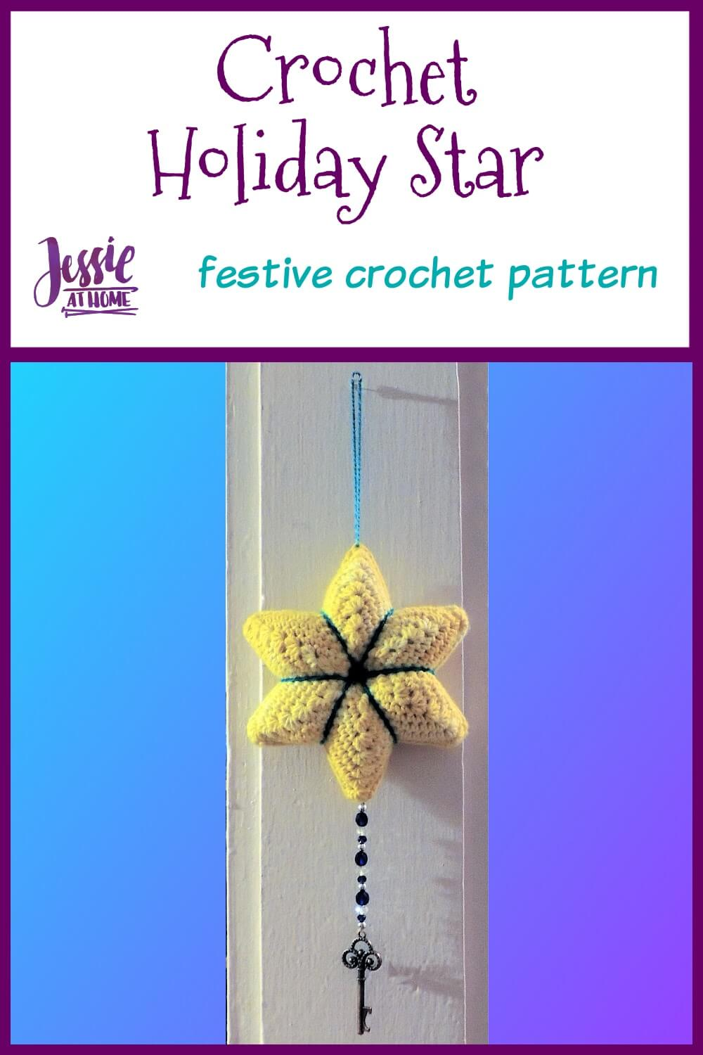 Crochet Holiday Star crochet pattern by Jessie At Home - Pin 1