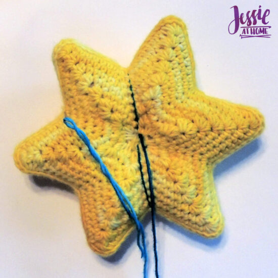Crochet Holiday Star crochet pattern by Jessie At Home - Sew yarn or floss through valley