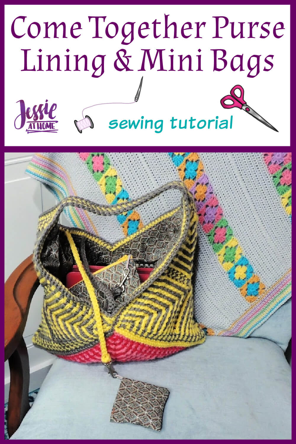 Come Together Purse Lining Sewing Tutorial - with 2 mini bags!