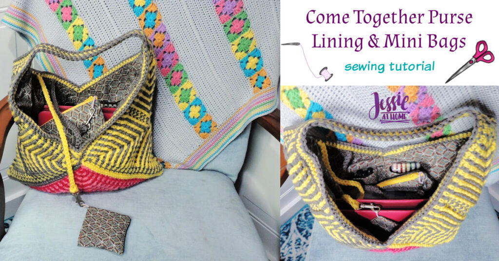 Come Together Purse Lining & Mini Bags sewing tutorial by Jessie At Home - Social